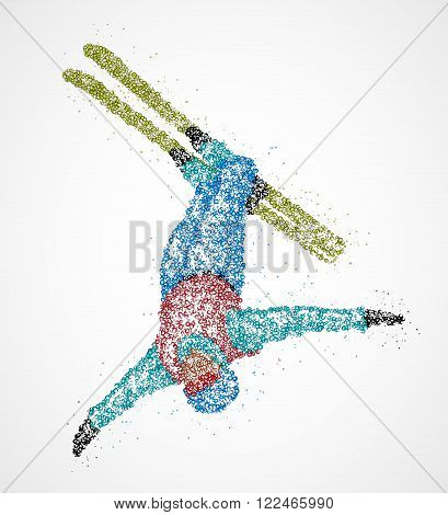 Abstract skier jumping out colored circles. Vector illustration.