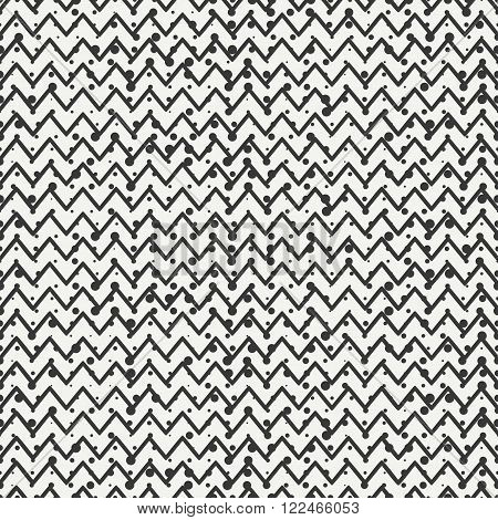 Geometric seamless abstract chevron zigzag stripes pattern. Hipster striped. Wrapping paper. Scrapbook. Vector illustration. Background. Graphic texture with randomly disposed spots.