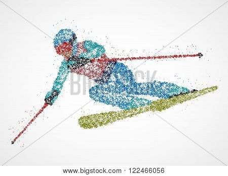Abstract skier from multicolored circles. Vector illustration.