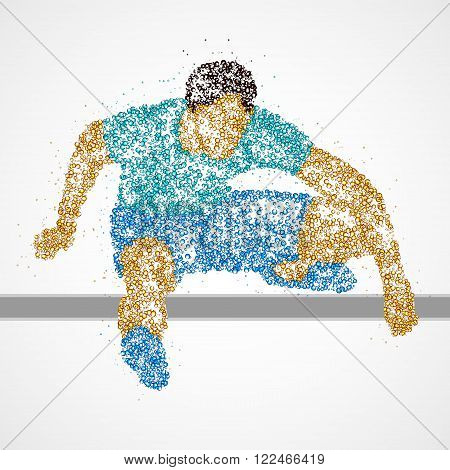 Abstract athlete jumping over the barrier. Vector illustration.