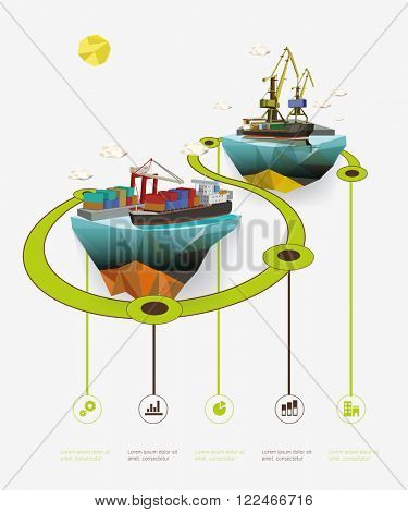 Low poly island with sea port. Infographic vector illustration.
