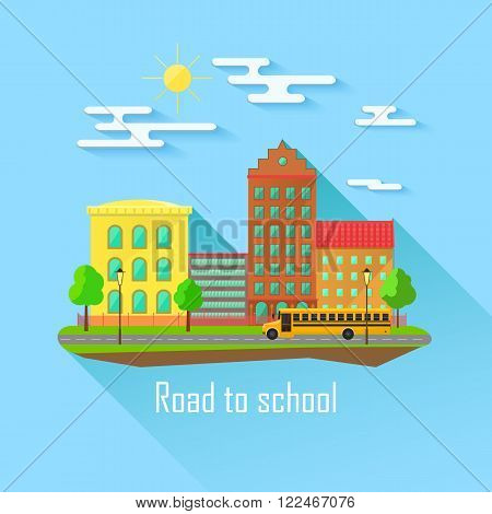 School building, bus and front yard with students children. Flat style vector illustration isolated on blue background.