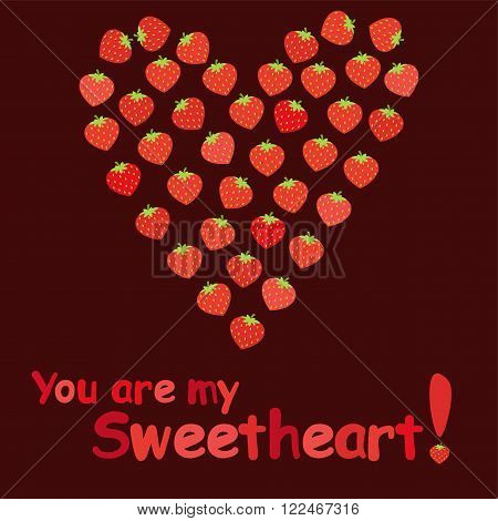 Strawberry Heart Cartoon Valentine's Day Card. You are my Sweetheart!