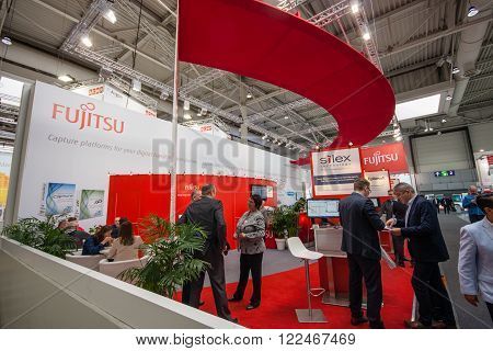 HANNOVER, GERMANY - MARCH 14, 2016: Booth of Fujitsu company at CeBIT information technology trade show in Hannover, Germany on March 14, 2016.