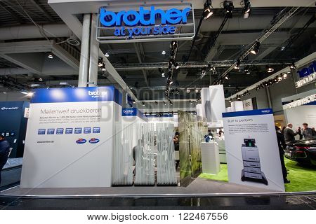 HANNOVER GERMANY - MARCH 14 2016: Booth of Brother company at CeBIT information technology trade show in Hannover Germany on March 14 2016.