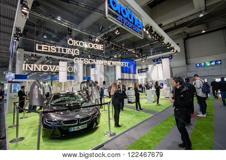 HANNOVER, GERMANY - MARCH 14, 2016: Booth of Brother company at CeBIT information technology trade show in Hannover, Germany on March 14, 2016.