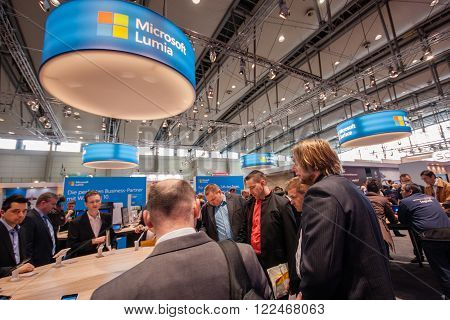 HANNOVER GERMANY - MARCH 14 2016: Lumia stand in booth of Microsoft company at CeBIT information technology trade show in Hannover Germany on March 14 2016.