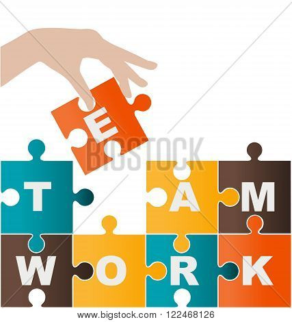Businesswoman assembling puzzle with teamwork solution and success concept