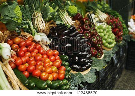 Vegetables In Basket Market Focus Tomatoes