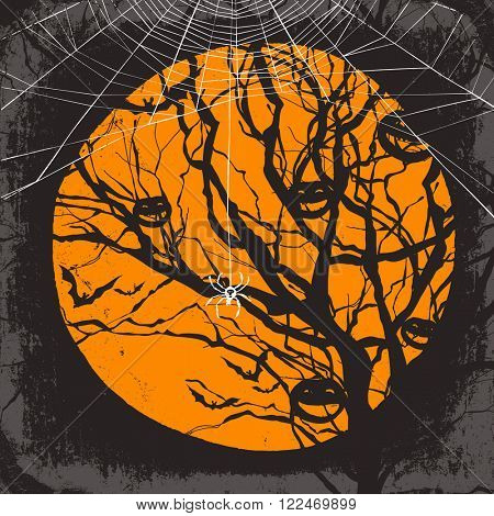 Halloween vector background. Dry tree and spider web. Raster version