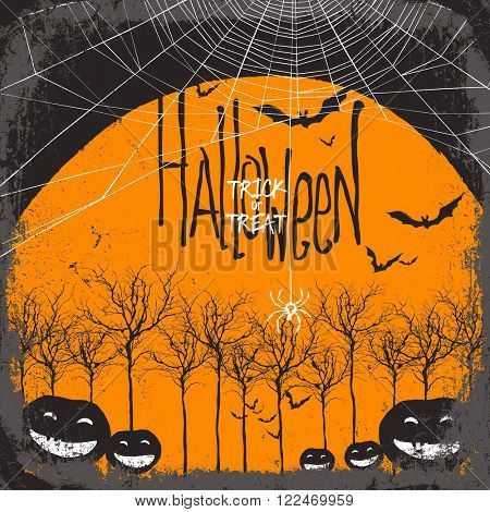 Halloween vector background. Dry tree and pumpkins. Full moon and bats. Spider web. Raster version