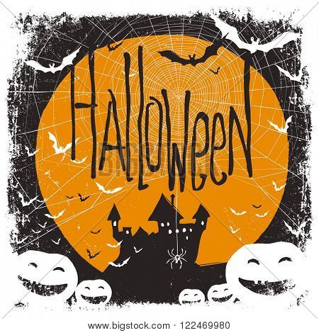 Halloween illustration with isolated borders. Raster version
