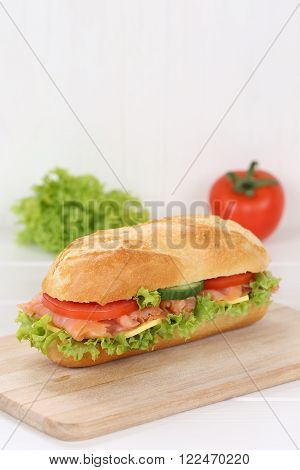 Sub Deli Sandwich Baguette With Salmon Fish And Copyspace Copy Space
