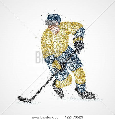 Abstract hockey player of the circles. Photo illustration.