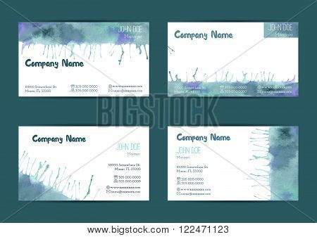 Set of hand painted watercolor horizontal business card templates. Colorful bright abstract blue and green brush stocks and splashes on a white background. Complied with the standard size.