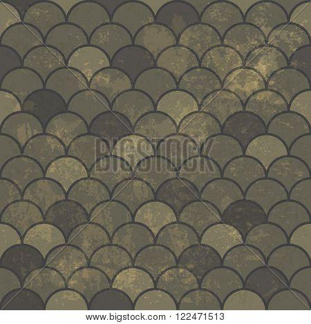 Seamless Vintage Rhombus Pattern. With Grunge Textured Background. Raster version