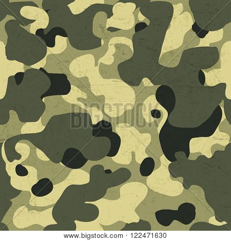 Military camouflage seamless pattern. . Raster version