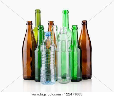 Empty bottles close-up isolated on white background
