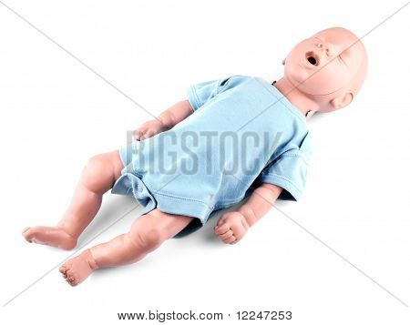 Cpr Traning Infant Dummy On White