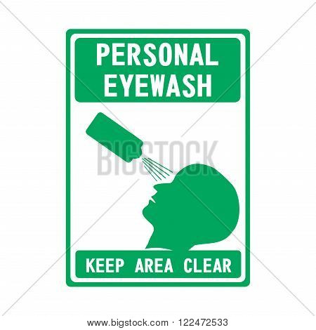Green emergency exit sign on white, Emergency shower, First aid box, First aid station, Personal eyewash, Keep area clear, Smoking area.