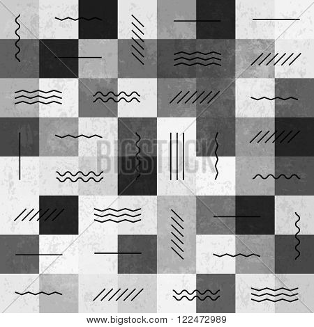 Retro monochrome vintage seamless pattern with lines. Raster version