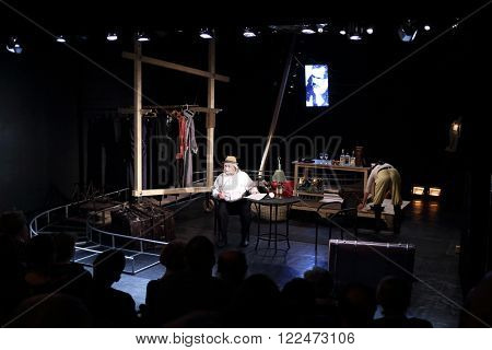 RUSSIA, MOSCOW - 15 APR, 2015: Two actors are playing their character of performance (Kosmos) on the stage at drama theatre Modern.