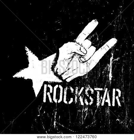 Rockstar symbol, sign of the horns gesture grunge composition on black. Raster version