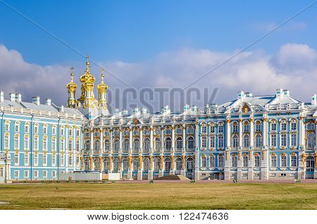 Day view on facade of Catharine Palace in Tsarskoye Selo (Pushkin) Russia