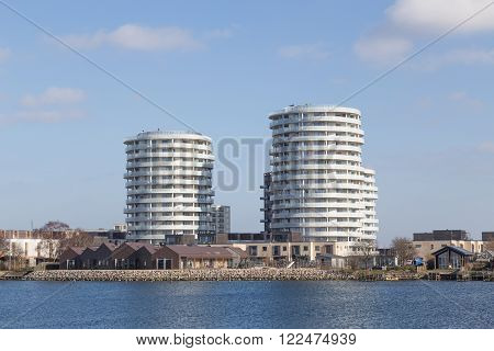 Copenhagen, Denmark - March 17, 2016: Newly built modern appartments in Islands Brygge district.