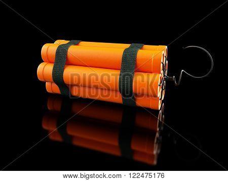 dynamite on a black background 3d danger