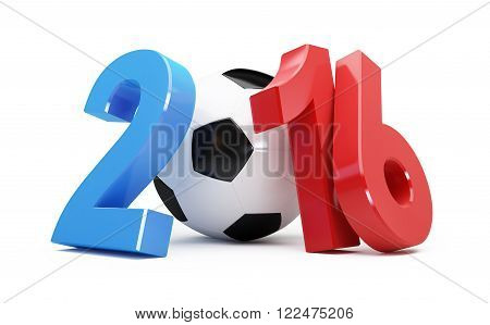 France 2016 football 3d Illustrations on a white background