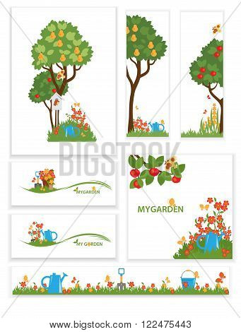Vector collection of designs on garden announcements greeting cards posters advertisements banners. Apple trees and flowers in the garden
