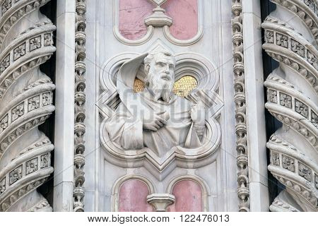 FLORENCE, ITALY - JUNE 05: Moses, Portal of Cattedrale di Santa Maria del Fiore (Cathedral of Saint Mary of the Flower), Florence, Italy on June 05, 2015