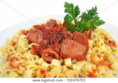 cuttlefish with spaghetti and parsley - greek lenten food