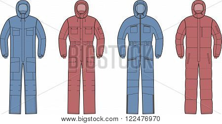 Vector illustration of winter work overalls with hood