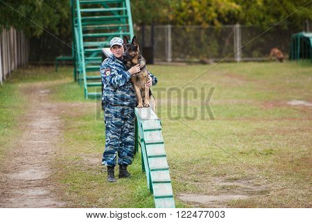 Omsk, Russia - August 22, 2014: Canine Center. Traning of german shepherd