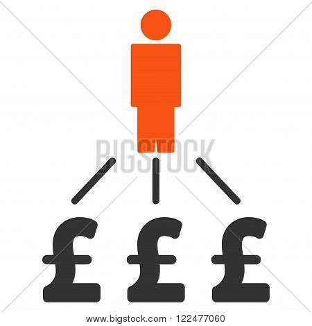 Person Pound Expenses vector icon. Person Pound Expenses icon symbol. Person Pound Expenses icon image. Person Pound Expenses icon picture. Person Pound Expenses pictogram.