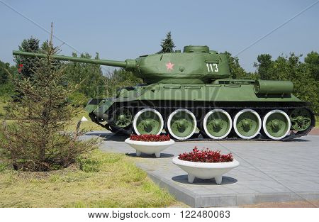 ST. PETERSBURG, RUSSIA - JUNE 29, 2015: Tank T 34-85 closeup. Memorial