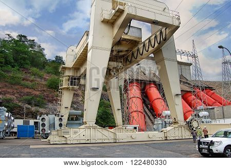 Akosombo Ghana West Africa - March 21 2014: Power Stations in developing countries. Image shows Akosombo Hydroelectric Power Station on the Volta River which supplies electricity to Ghana and nearby countries