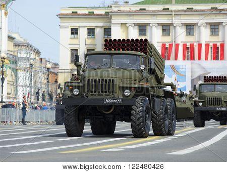 ST. PETERSBURG, RUSSIA - MAY 05, 2015: Vehicle BM-21-1 MLRS