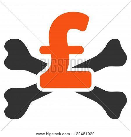 Pound Mortal Debt vector icon. Pound Mortal Debt icon symbol. Pound Mortal Debt icon image. Pound Mortal Debt icon picture. Pound Mortal Debt pictogram. Flat pound mortal debt icon.