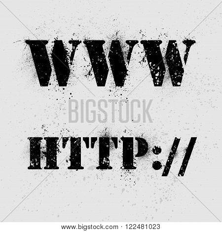 Internet grunge text on ink blots background. eps10