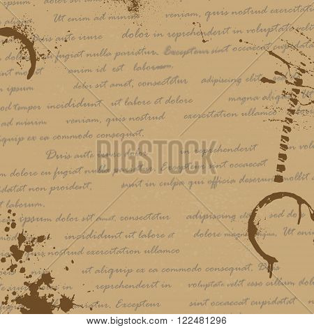 Old paper manuscript with text and ink blots. eps10