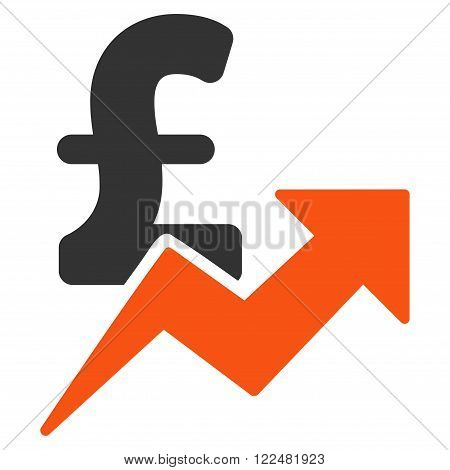 Pound Sales Growth vector icon. Pound Sales Growth icon symbol. Pound Sales Growth icon image. Pound Sales Growth icon picture. Pound Sales Growth pictogram. Flat pound sales growth icon.