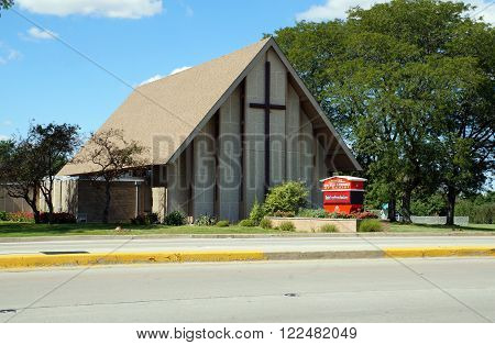 PLAINFIELD, ILLINOIS / UNITED STATES - SEPTEMBER 20, 2015: The Plainfield Congregational United Church of Chirst offers worship services and a preschool in Plainfield.