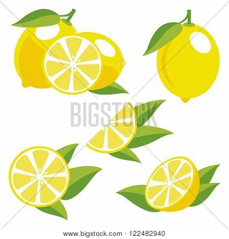 Yellowe lemons with leaves. Collection of different fresh lemons.