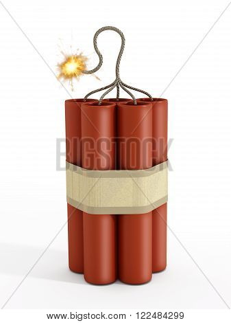 Dynamite with a burning fuse isolated on white background.