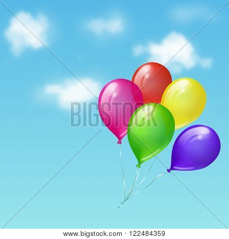 Illustration of bright colored glossy balloons flying in the sky