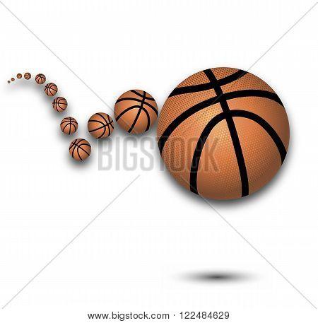 Bounce a basketball, vector art illustration sport.