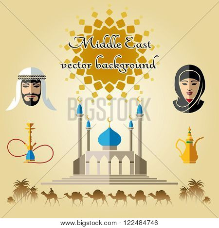 Arab concept background with camels, mosque and people in traditional Middle East clothes. Vector background with text